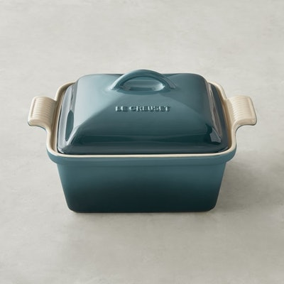 Le Creuset Stoneware Heritage Covered Square Baker in Teal