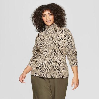 Who What Wear™ - Women's Plus Size Leopard Print Long Sleeve Turtle Neck