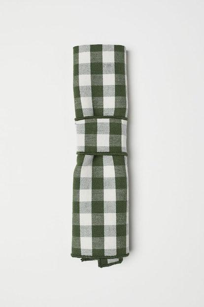 Checked Linen-blend Napkin