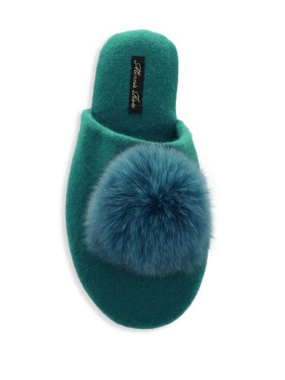 Minnie Rose Fox Fur & Cashmere Slippers