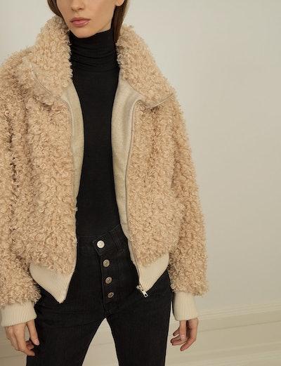 Crop Faux Shearling Jacket