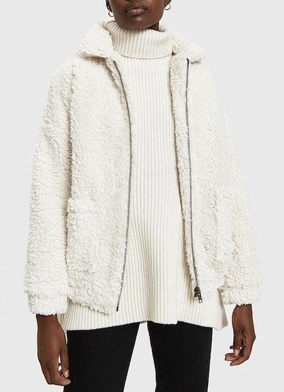 Vivienne Faux Sheepskin Jacket in Ivory