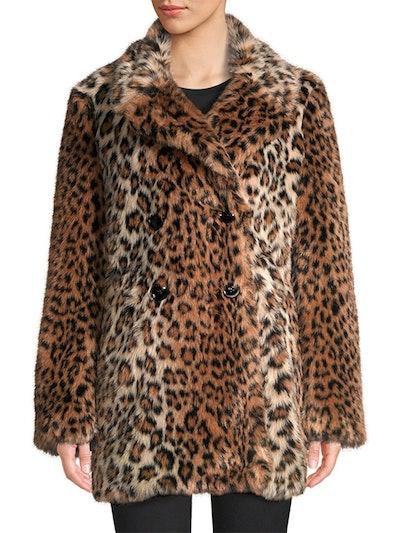 Tiaret Leopard Faux Fur Coat