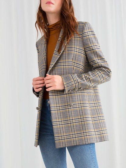 Oversized Structured Plaid Blazer