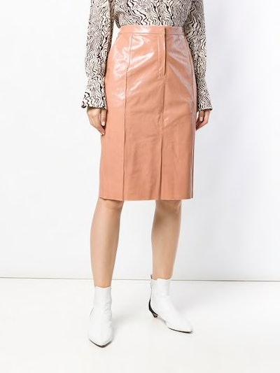 Lambskin Straight Skirt