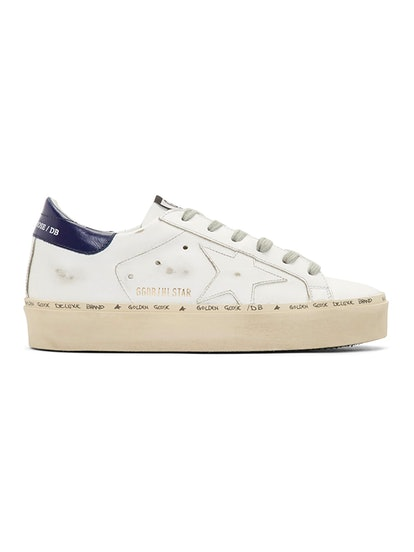 White & Bue Hi Star Platform Sneakers