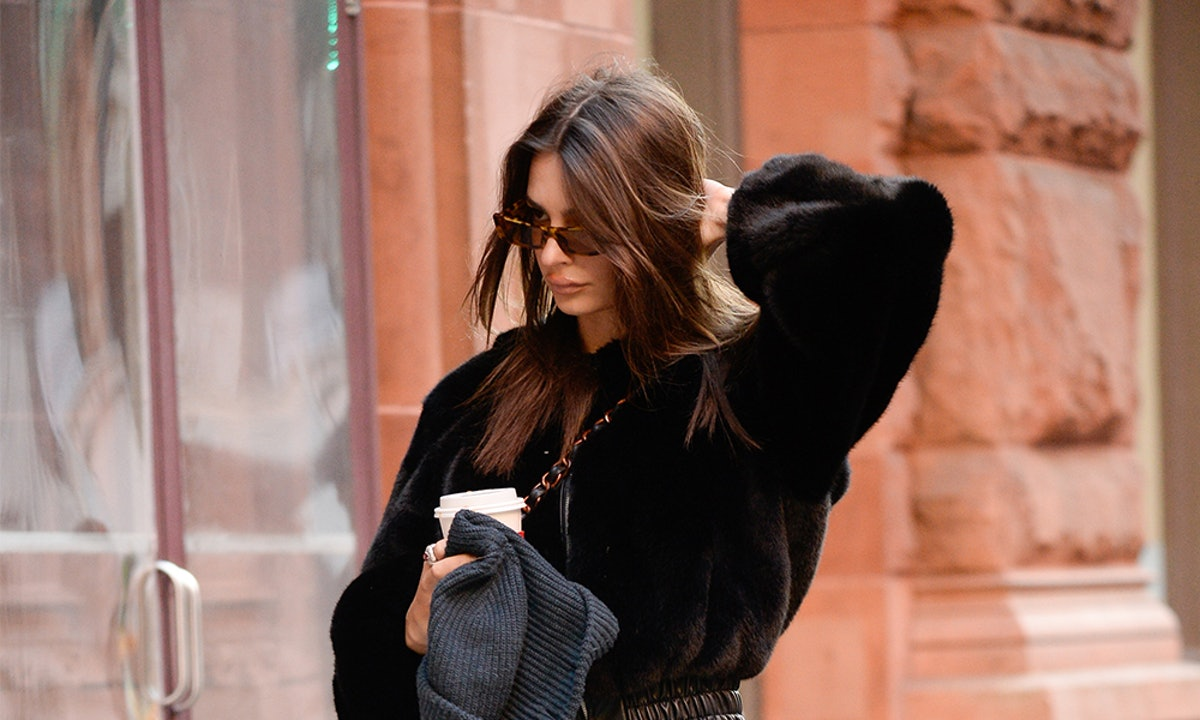 Emily Ratajkowski's Black Bomber Jacket Is A Chic Substitution For Winter Outerwear
