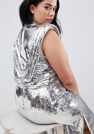 ASOS DESIGN Curve High Neck Drape Armhole Midi Dress In All Over Sequin