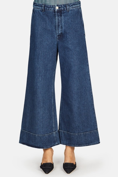 Acne Studios High Waisted Cropped Wide Leg Jean - Dark Blue