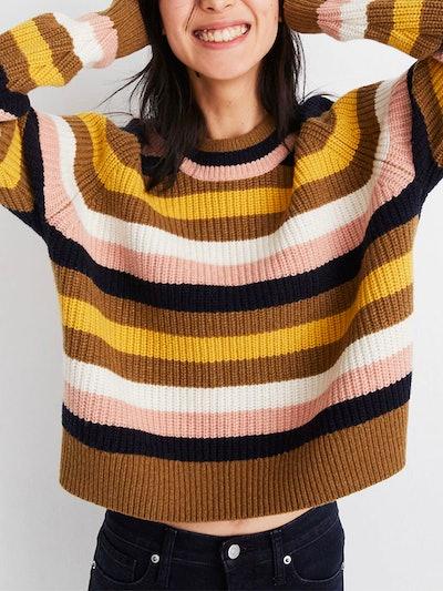 Striped Tilden Pullover Sweater