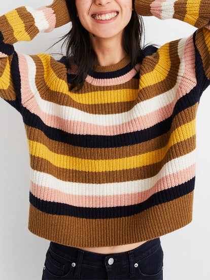 Striped Tilden Pullover Sweater