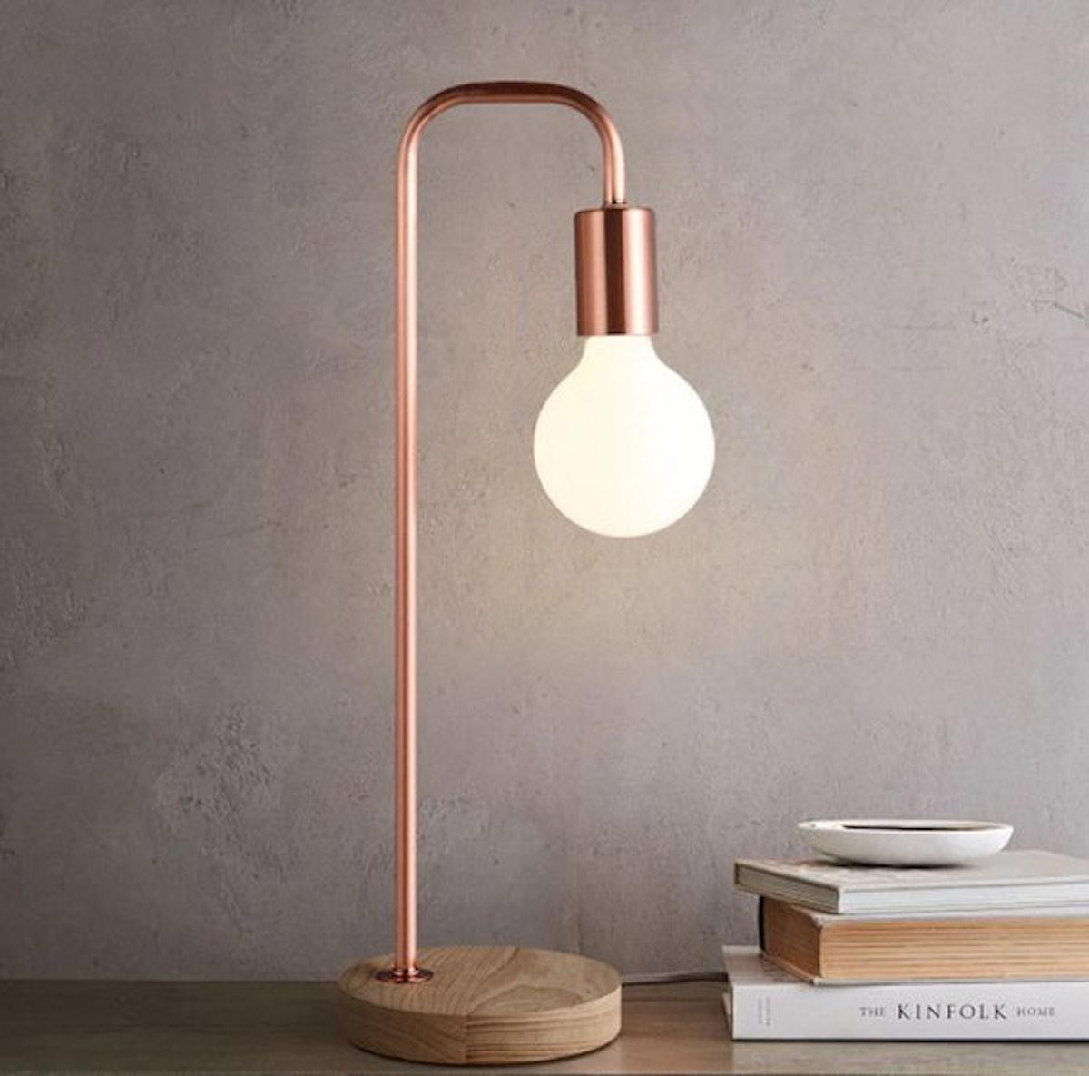 StripeFurniture Rose Gold Scandinavian Desk Light