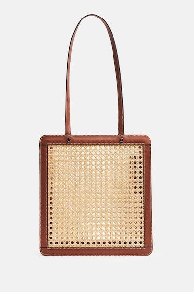 Palmgrens Rattan Bag Tall - Cognac