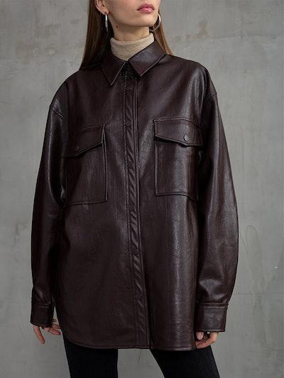 Brown Vegan Leather Shirt