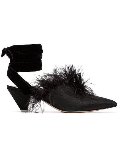 Black Feather Embellished 45 Velvet And Satin Mules