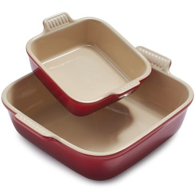 Le Creuset Square Bakers, Set of 2 in Cerise