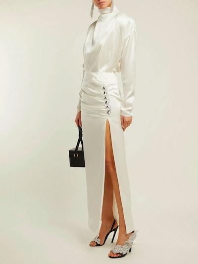 Crystal-Embellished Silk-Satin Gown