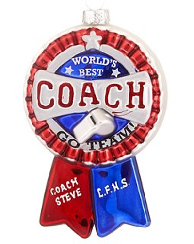 World's Best Coach Ribbon Christmas Ornament