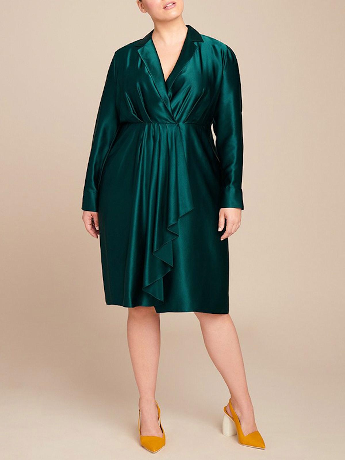 Silk Charmeuse Collar Day Dress