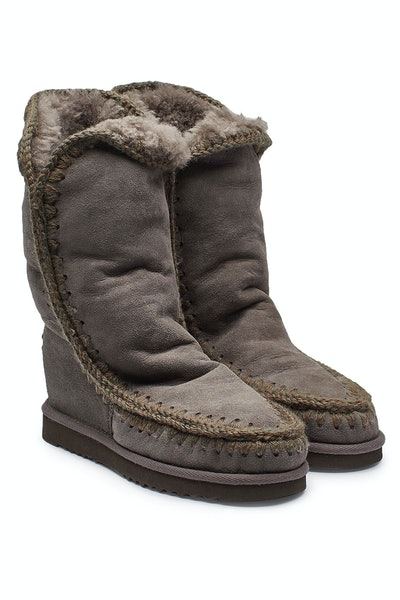Tall Wedge Sheepskin Boots