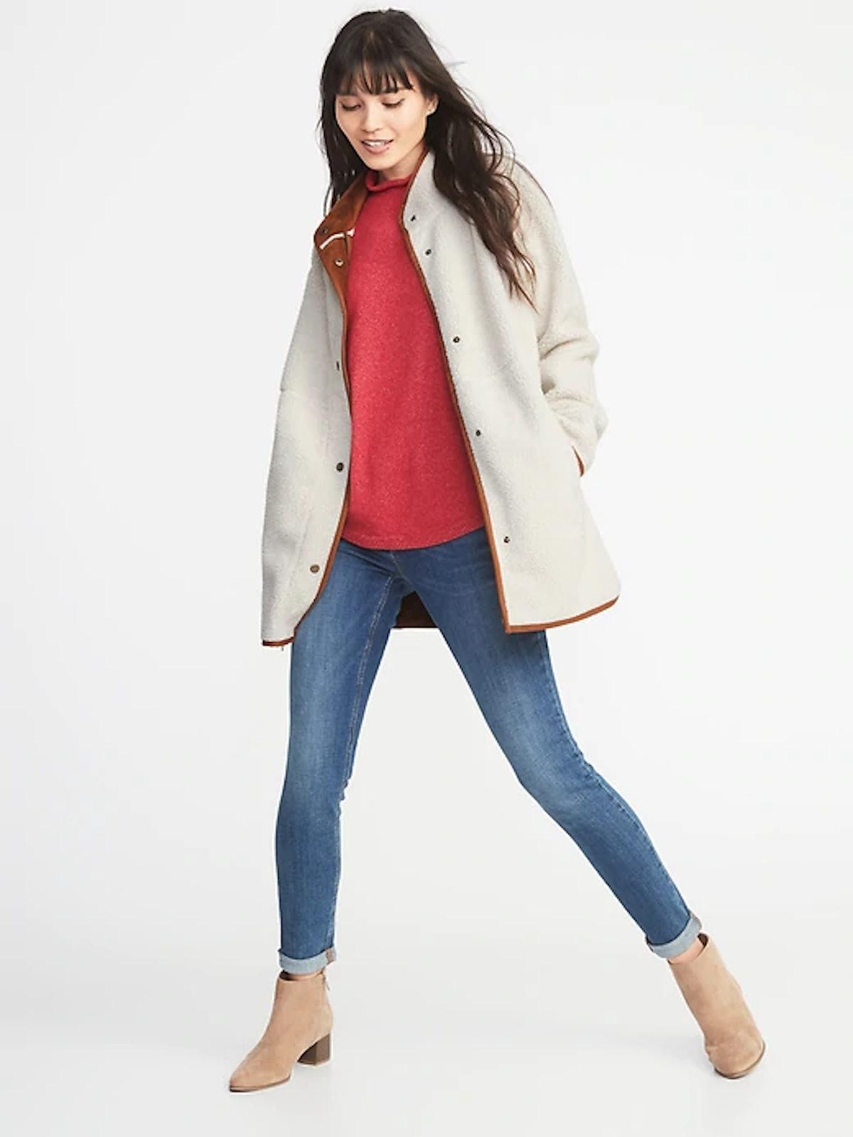 Long Sherpa Faux-Suede Lined Coat for Women