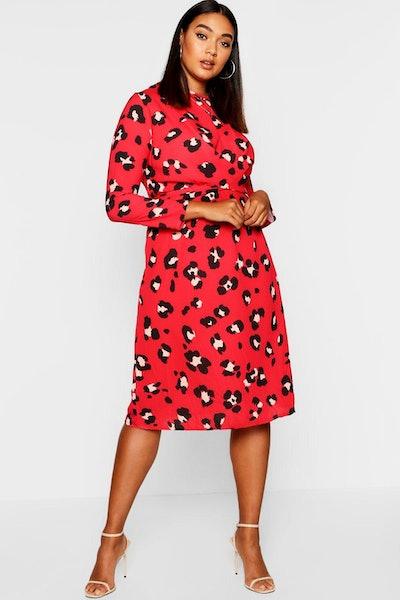 Boohoo Plus Leopard Print Tie Front Midi Dress