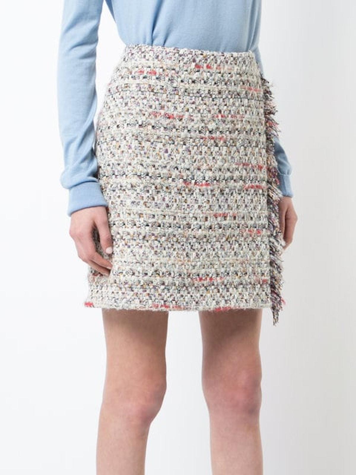 Tweed Mini Wrap Skirt