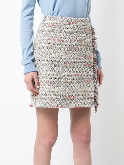 Tweed Mini Wrap Skirt