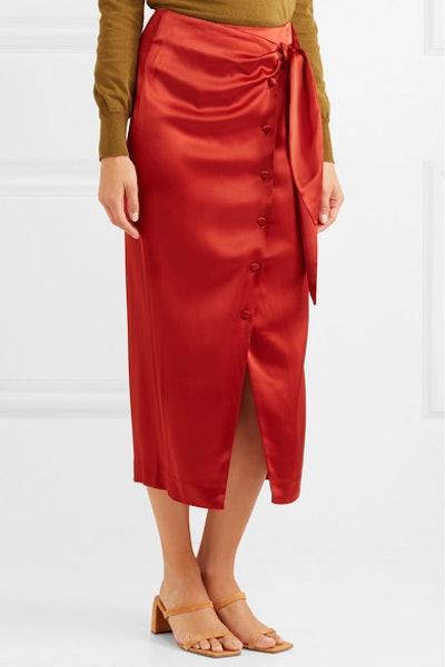 Aries Belted Satin Midi Skirt