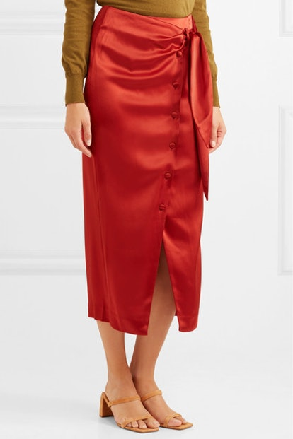Aries Belted Satin Midi Skirt