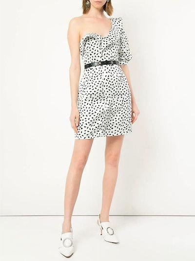 Printed One-Shoulder Mini Dress