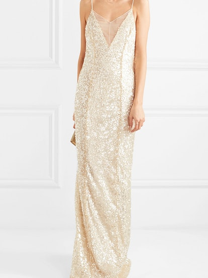 Hollywood Paillette-Embellished Metallic Tulle Gown