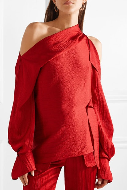 Driffield Cutout Hammered Silk-Satin Top