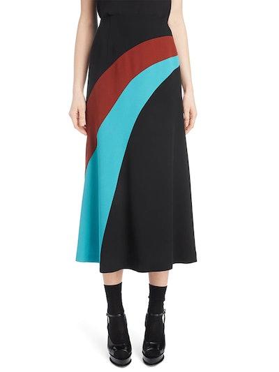 Curved Inset Midi Skirt