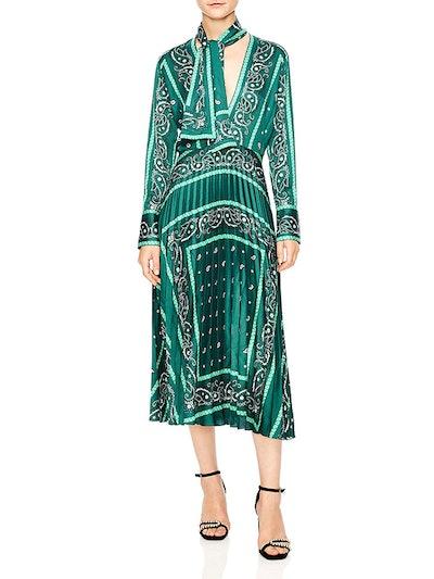 Cactus Bandana Print Pleated Midi Dress