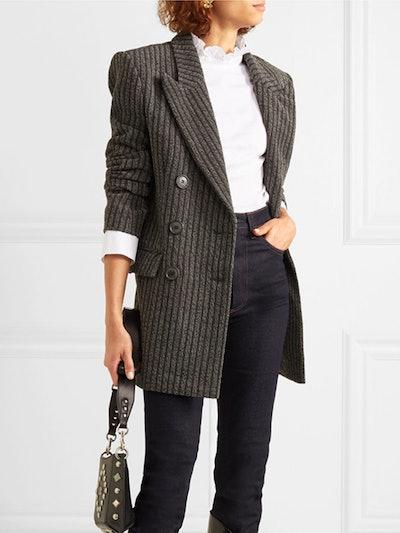 Jaxen Double-Breasted Striped Wool-Blend Blazer
