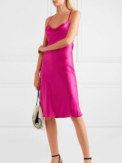 Whiteley Open-Back Silk-Satin Dress