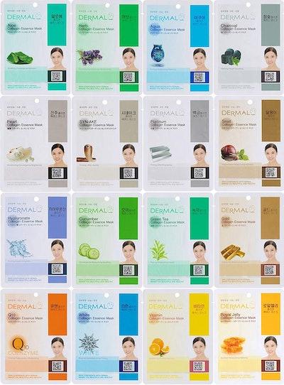 Dermal Korea Collagen Essence Full Face Facial Sheet Mask, 16 Count