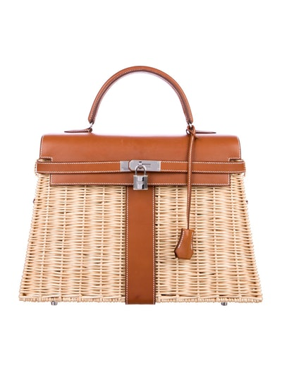 Hermes Limited Edition Barenia and Wicker Picnic Kelly 35