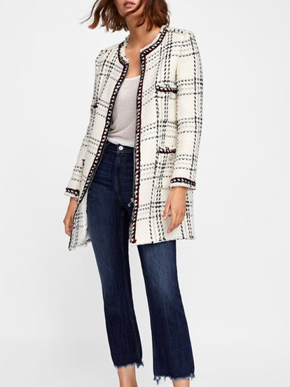 Plaid Coat With Stripes