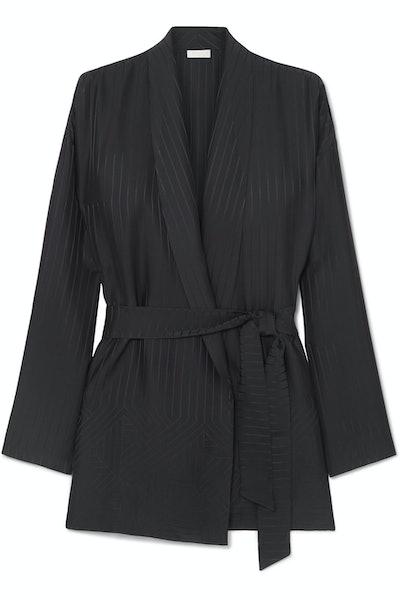 Midday striped silk-satin jacquard robe