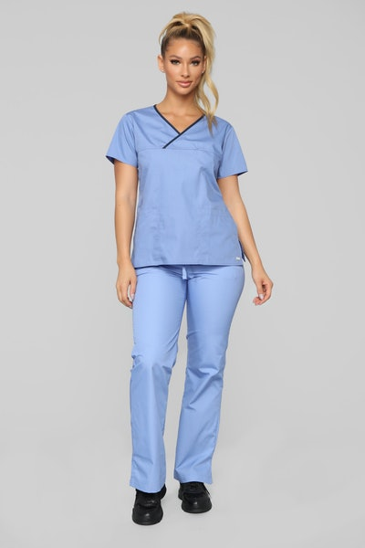 Be Patient Contrast Scrub Top