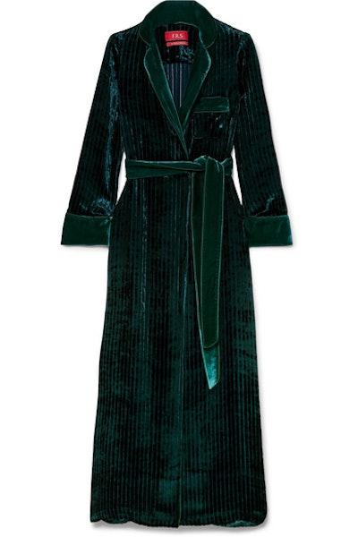 Roda belted velvet robe