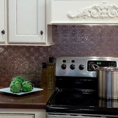 24 in. x 18 in. Lotus PVC Decorative Tile Backsplash in Brushed Nickel