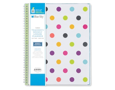 2018-19 Academic Weekly Lesson Planner Polka Dots - Blue Sky