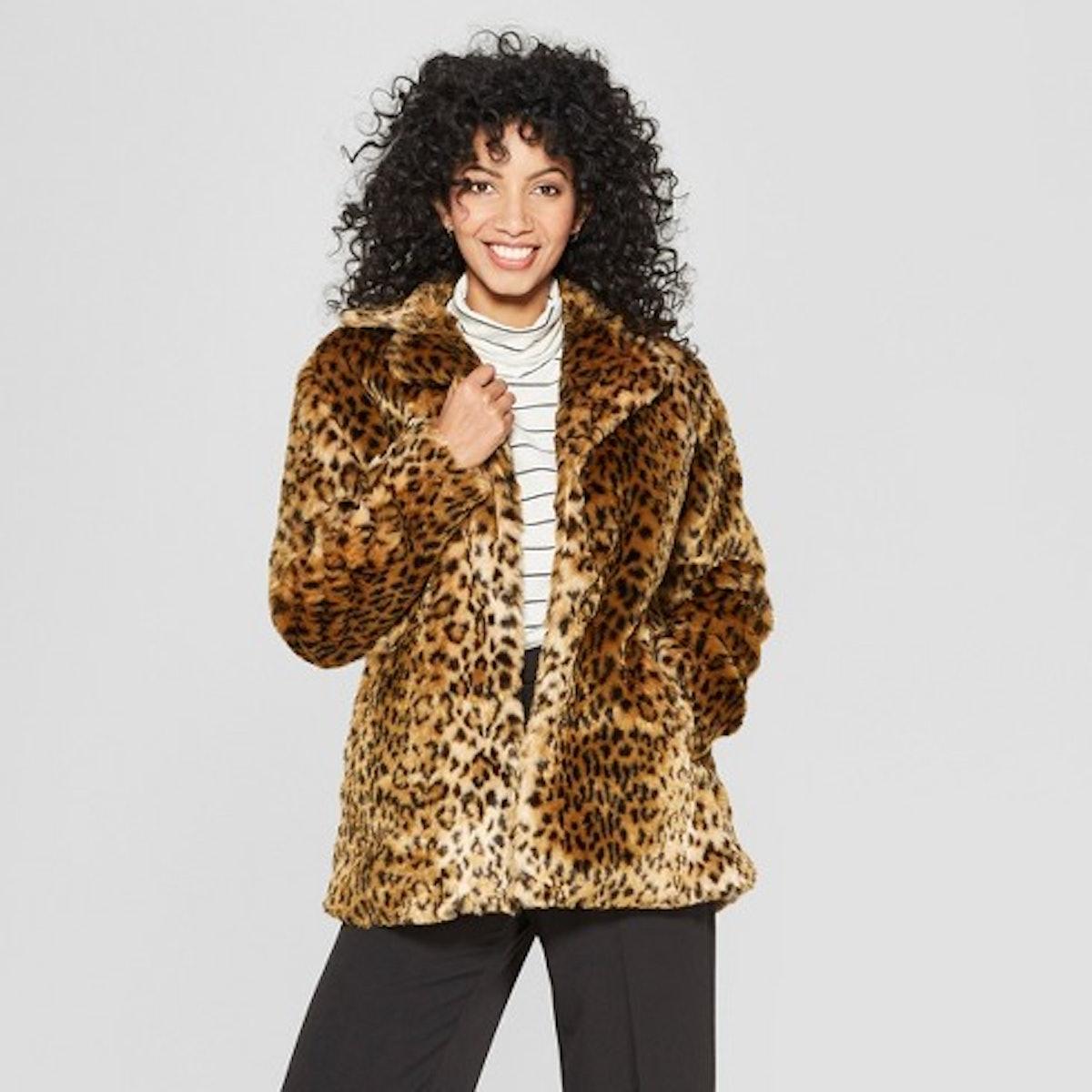 Women's Faux Fur Leopard Print Shawl Jacket - A New Day™ Tan