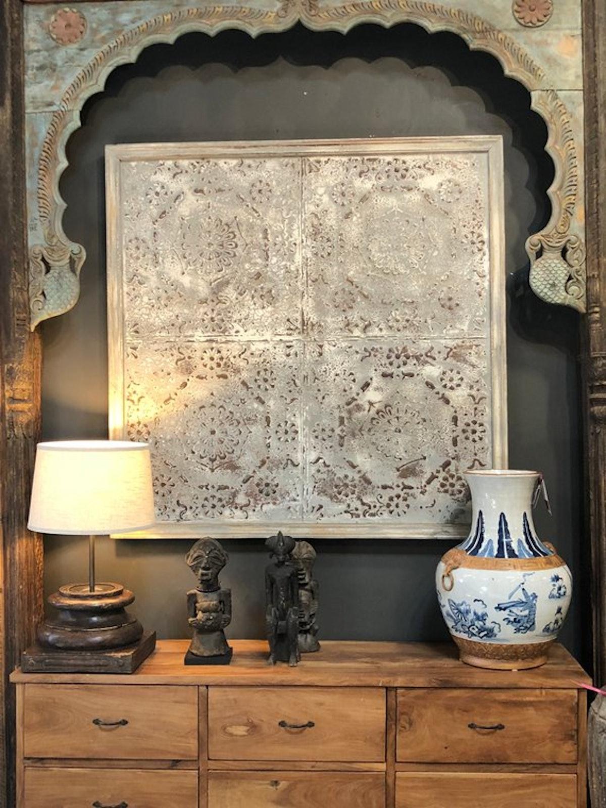 DeCorPasadena Antique Steel Gray Tin Ceiling Panel