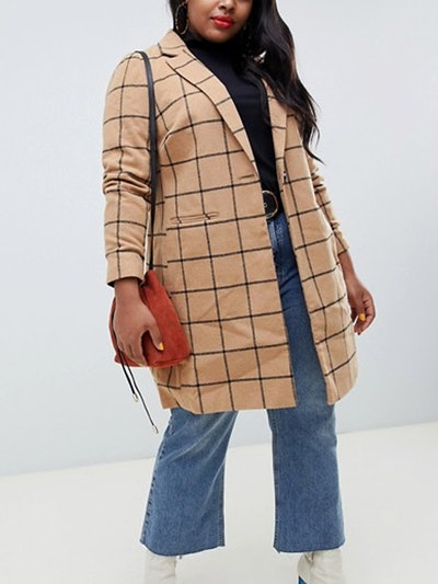 Coat With Grid Check In Camel