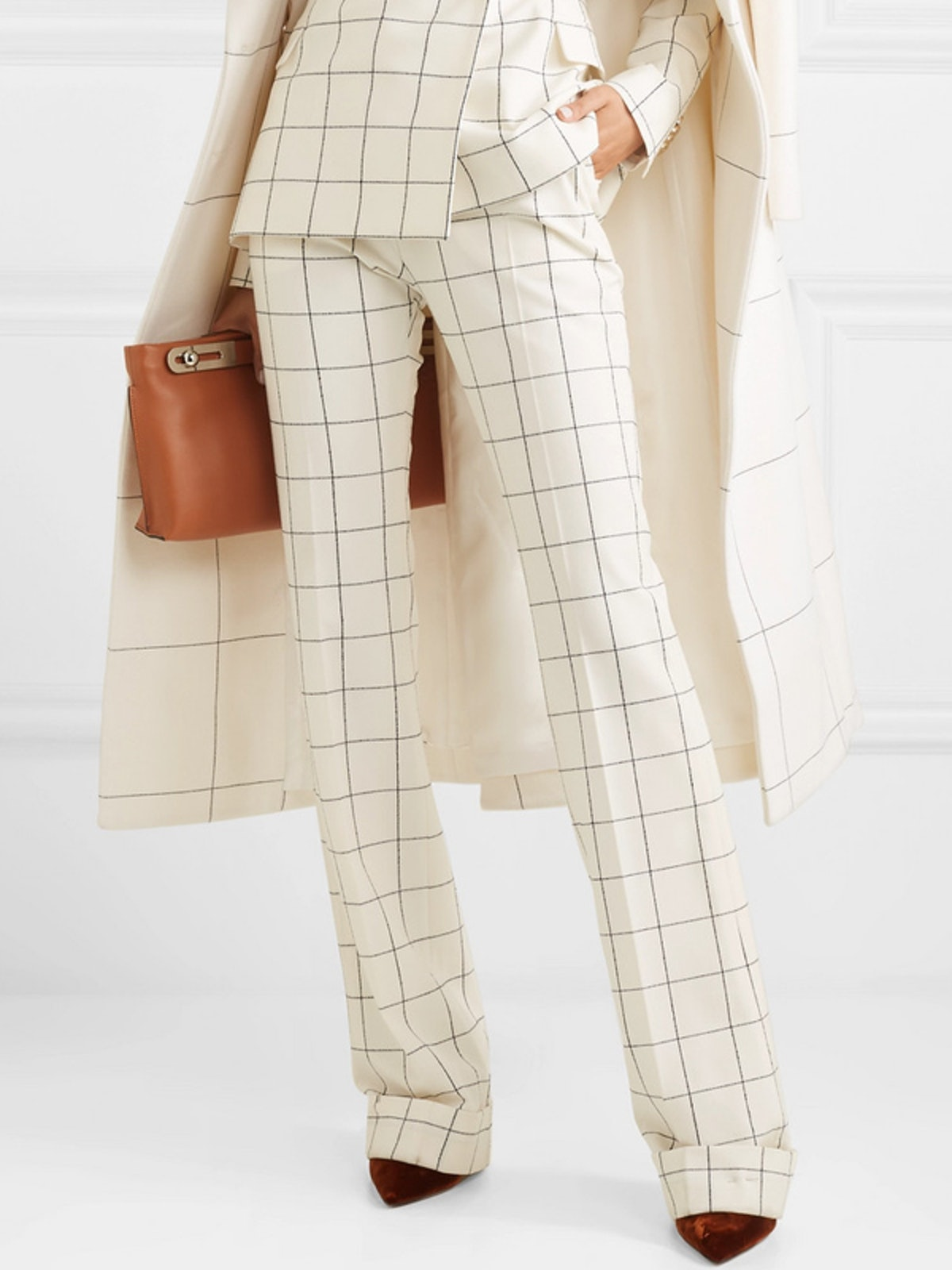Checked Wool-Blend Flared Pants