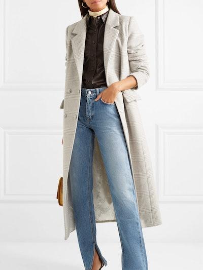 Woodside Crystal-Embellished Checked Wool-Blend Coat